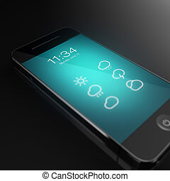 Smart phone with weather concept