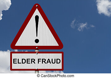 Elder Fraud Caution Sign, Red and White Triangle Caution...