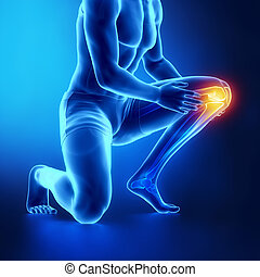 Male knee injured and sprained