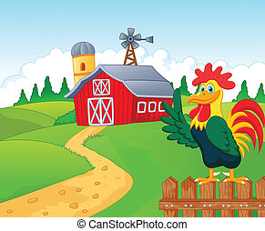 Happy cartoon roster in the farm - Vector illustration of...