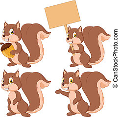 Cute cartoon squirrel collection se - Vector illustration of...