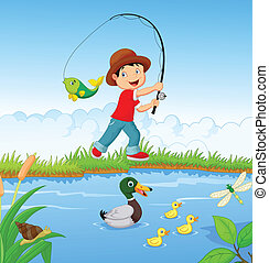 Little boy cartoon fishing - Vector illustration of Little...