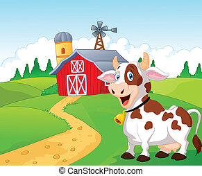 Happy cartoon cow - Vector illustration of Happy cartoon cow...