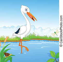 White stork cartoon searching food - Vector illustration of...