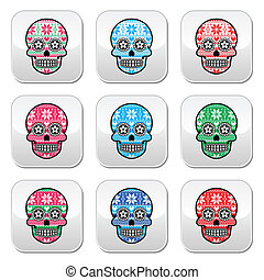 Mexican sugar skull buttons with wi - Vector buttons set of...