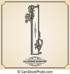 Calligraphic Design Font. Letter I - Calligraphic Design...