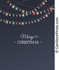 Vintage Christmas design with typography and garlands -...