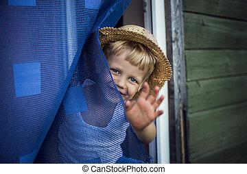 Concept: Bye, Summer! - Outdoor portrait: beautiful kid...