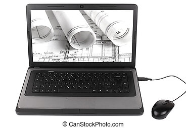 Architectural project on Lap Top Computer isolated on white