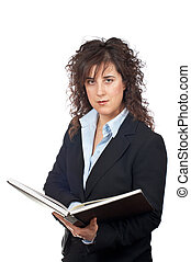 Business woman with book - Serious business woman with book...