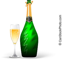 Champagne bottle and glass - Vector illustration (eps 10) of...