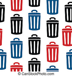 Garbage icon seamless pattern on white background. Vector...
