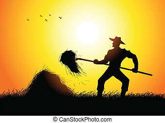 Farmer - Silhouette illustration of a farmer with a...