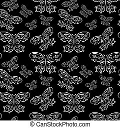 Seamless pattern with butterflies on a black background
