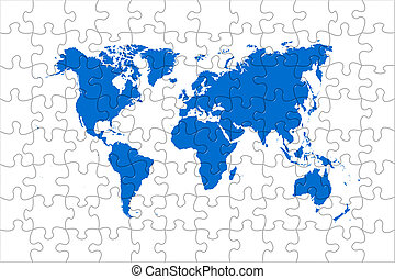 Puzzle world map - High quality puzzle world map image over...