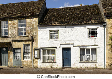 white painted stone cottage, Lacock - medieval stone cottage...