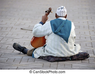 Violin player in Morocco - Violin player at Djemaa el Fna...