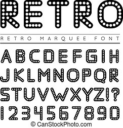 Retro marquee font Vector illustration on white background