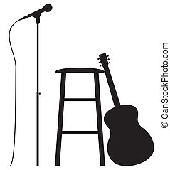Guitarist Set Up - A Guitar, Stool and Microphone silhouette...