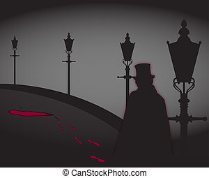 Jack The Ripper On The Street - A silhouette of Jack The...