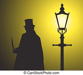 Jack The Ripper In The Light - A silhouette of jack the...