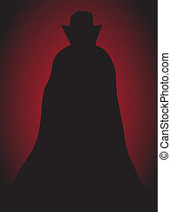Dracula - A Dracula Silhouette on a red and black background
