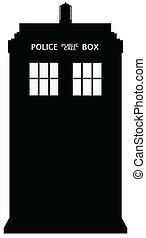 Police Telephone Box Silhouette - An old fashioned police...