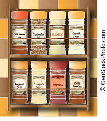 Spicy Spice Rack - A small spice rack with hot spices on a...