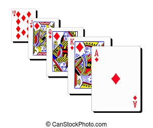 Royal Flush - A royal flush with differently sized cards...