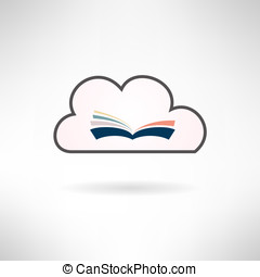 Book icon Cloud library concept Vector - Book icon made in...