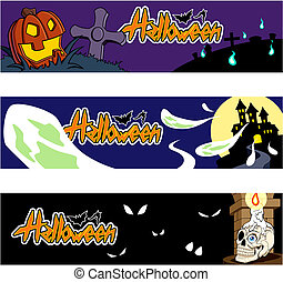 Halloween banners - Collection of three Halloween banners...
