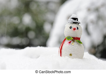 snowman - christmas snowman in winter landscape