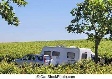 Camping in France - Camping between the vineyards in France,...