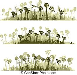 Silhouettes coniferous wood. - Set vector horizontal lines...