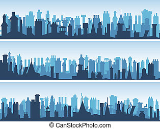Roofs with numerous chimneys - Vector horizontal abstract...