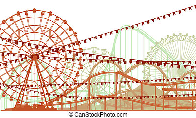 Roller-coaster and Ferris Wheel. - Horizontal illustration...