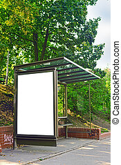 Empty bus shelter with blank poster as copy space, urban...