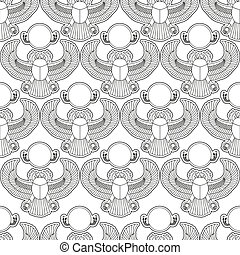 Scarab silhouette vector seamless pattern illustration clip...