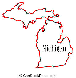 Michigan - Outline map of the state of Michigan