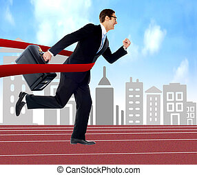 I won the race ! - Businessman running on track, cityscape...