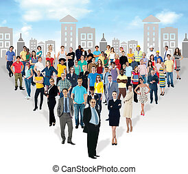 Multi-ethnic people in mass numbers - The mass group is in...