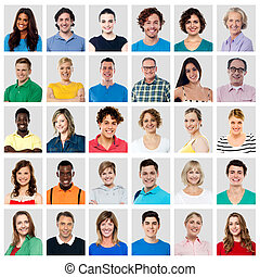 Composition of smiling people - Collection of multi-ethnic...