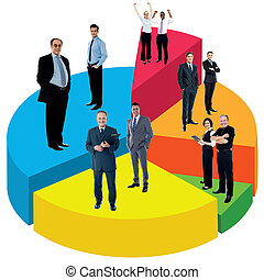 Different people standing on pie chart - Business people...