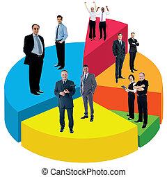 diferente, gente, posición, Pastel, gráfico
