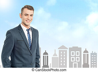 Businessman with city skyline background