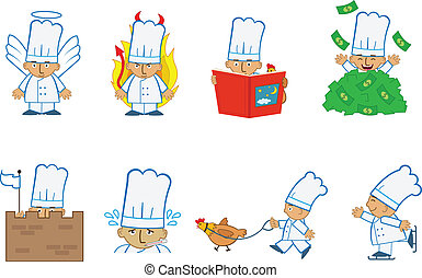 Tiny Chef Angel - Fun set of eight chef emoticons doing...