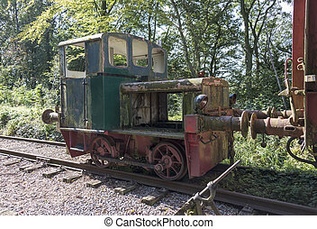 old rusted train locomotive at trainstation hombourg - old...