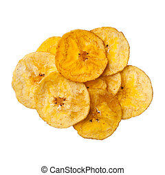 Platano plantain chips on white background, close up