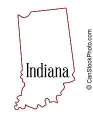 Indiana - Outline map of the state of Indiana over white
