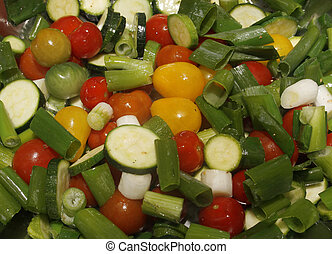 fruit n veg - image of Fruit and vegetables frying in a pan
